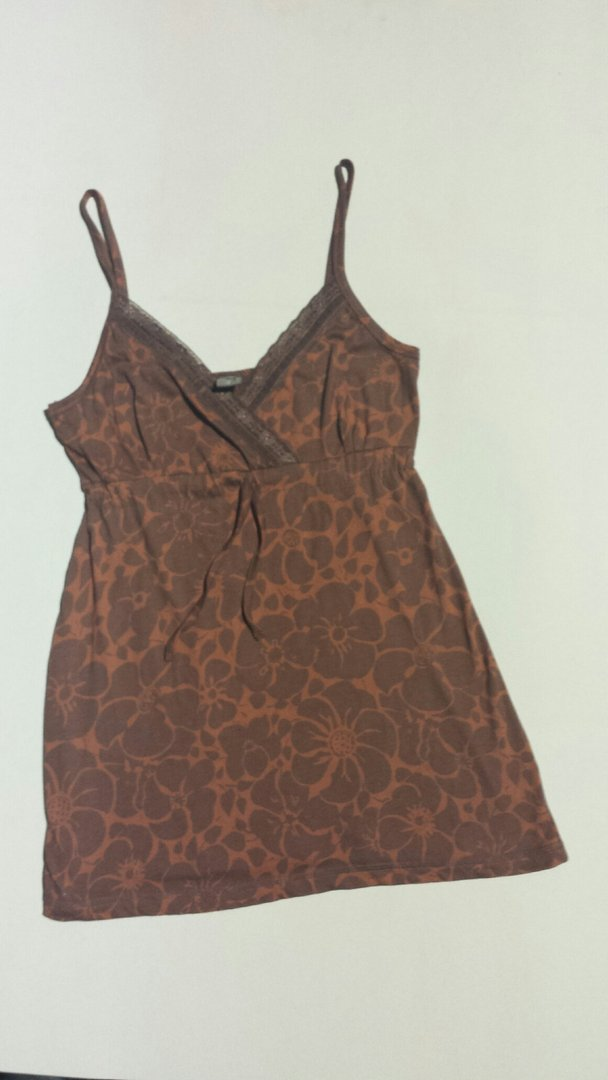 DE-IDENTIFIED FASHION RETAILER Brown Flower Pattern Vest Top Size 8 RRP £9.00 CLEARANCE XL £0.99