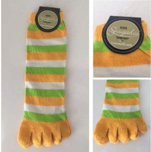 Kids Snugadoo Super Soft 5 Toe Novelty Socks Green, Orange & White RRP £3.99 CLEARANCE XL £1.00
