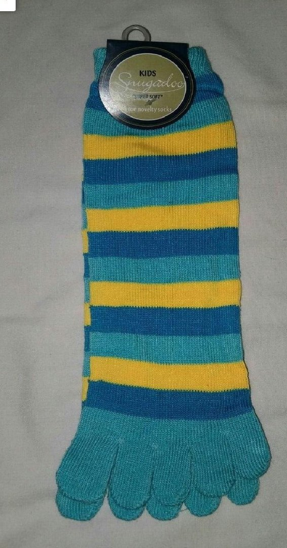 Kids Snugadoo Super Soft 5 Toe Novelty Socks Light/Dark Blue & Yellow RRP £3.99 CLEARANCE XL £1.00
