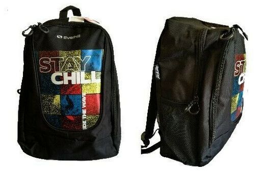 Everhill 'Stay Chill' Black White Red and Yellow Backpack RRP £20 CLEARANCE XL £8.99