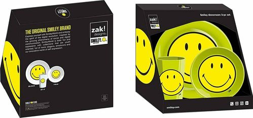 Zak Designs Smiley Classic Dinnerware Green Set of 3 Pieces RRP £11.99 CLEARANCE XL £2.99