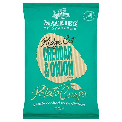 Mackie's Ridge Cut Cheddar & Onion Crisps 150g RRP £1.75 CLEARANCE XL 99p